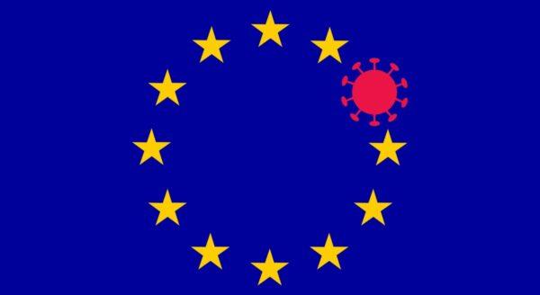 europese vlag met coronavirus coronamaatregelen