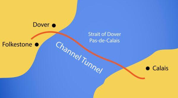 kaart dover calais kanaaltunnel vrachtverkeer